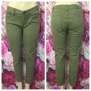 J Crew Toothpick Green Army Stretch Jeans Size 30